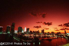 Downtown Miami skyline at sunset